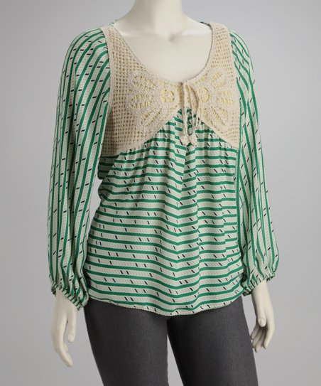 Green Macramé Top - Plus