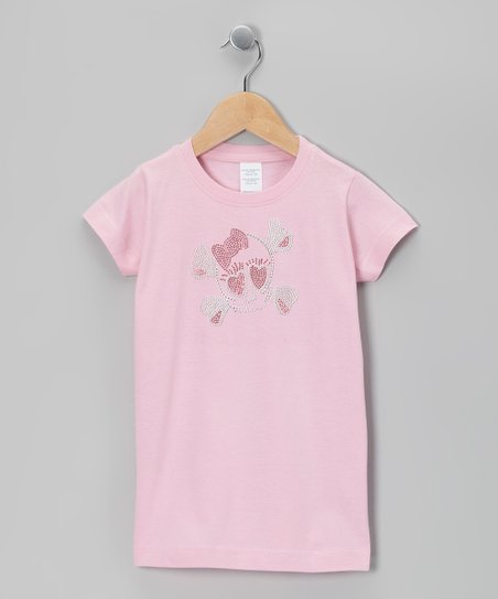 Light Pink Baby Girl Skull Tee - Toddler & Girls