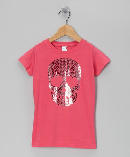 Hot Pink Sequin Skull Tee - Toddler & Girls