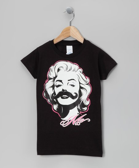 Black Marilyn Stache Tee - Girls