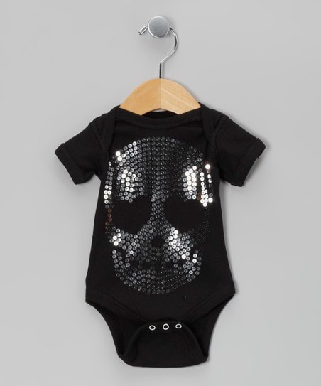 Black Skull Sequin Bodysuit - Infant