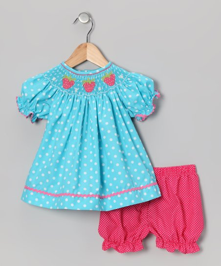 Turquoise Strawberry Bishop Dress & Bloomers - Toddler