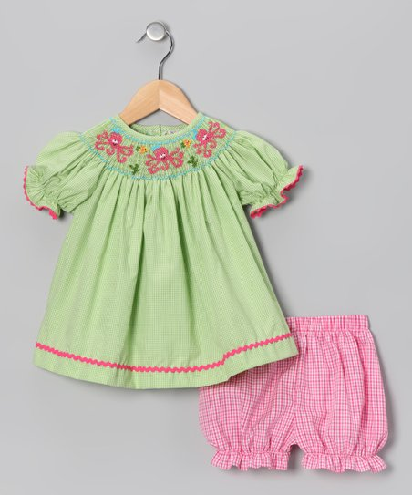 Lime Gingham Octopus Bishop Dress & Bloomers - Infant & Toddler