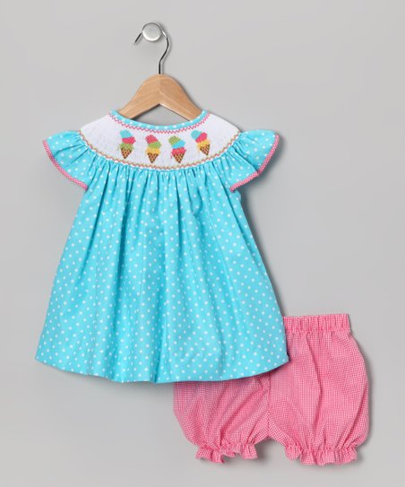 Turquoise Ice Cream Bishop Dress & Bloomers - Infant