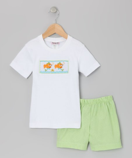 White &amp; Lime Green Clown Fish Tee &amp; Shorts - Infant
