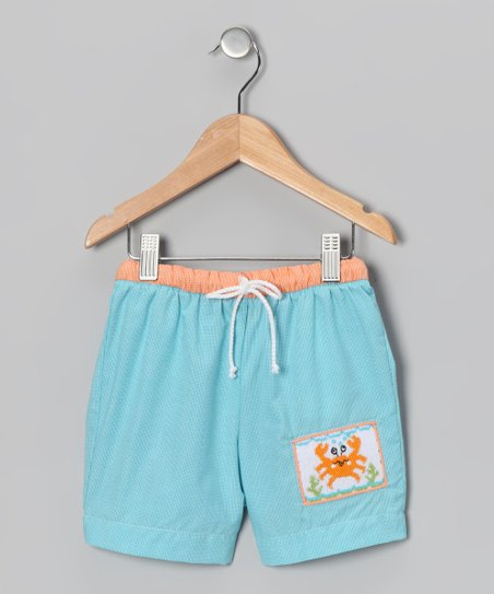 Teal Micro Check Crab Swim Trunks - Infant &amp; Toddler