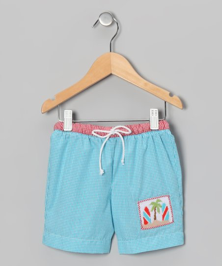 Teal Gingham Surfboard Swim Trunks - Infant &amp; Toddler