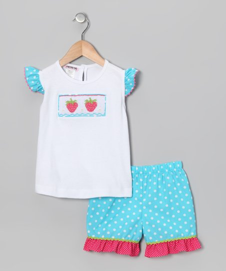White & Turquoise Strawberry Top & Shorts - Infant & Toddler