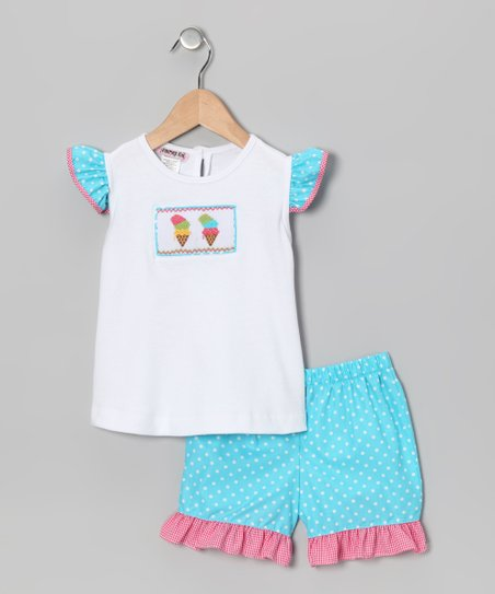 White & Turquoise Ice Cream Top & Shorts - Infant & Toddler