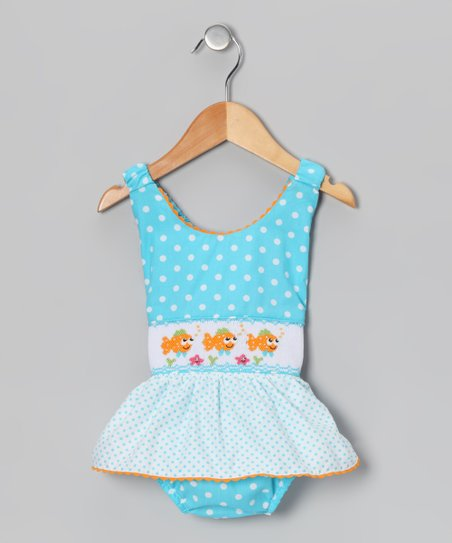 Light Turquoise Polka Dot Clown Fish One-Piece - Infant & Toddler