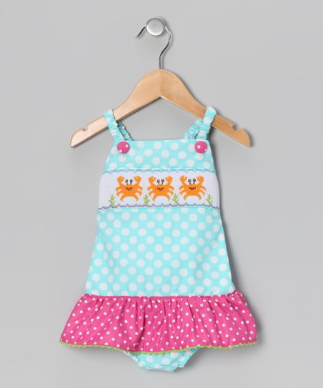 Turquoise & Fuchsia Polka Dot Crab One-Piece - Toddler