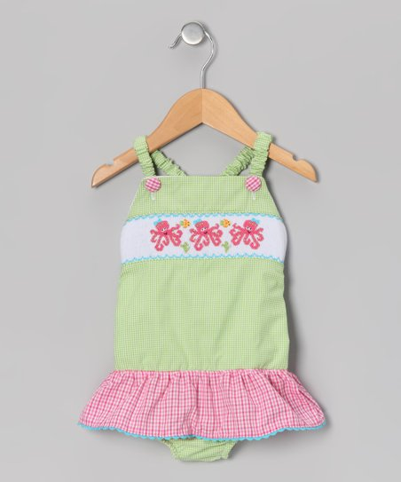 Lime & Pink Gingham Octopus One-Piece - Infant & Toddler