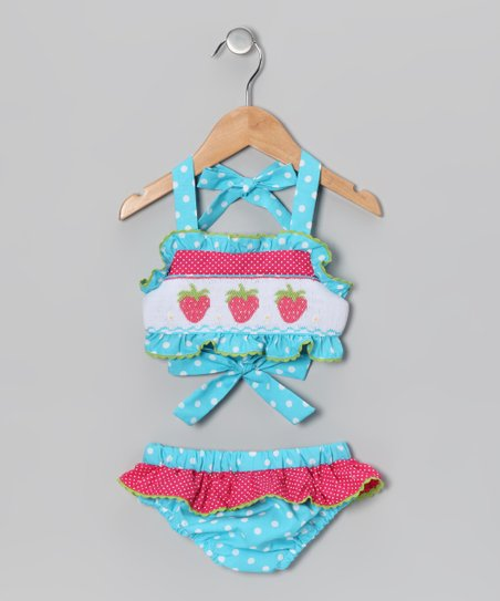 Turquoise Polka Dot Strawberry Tankini - Infant &amp; Toddler