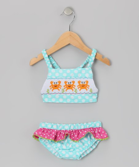 Turquoise & White Polka Dot Crab Tankini - Infant & Toddler