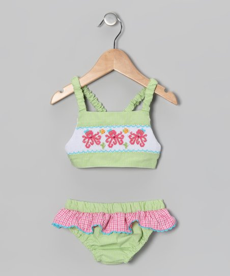 Lime & Pink Gingham Octopus Tankini - Infant & Toddler