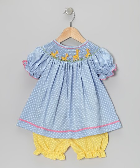 Blue Giraffe Bishop Dress & Yellow Bloomers - Infant & Toddler