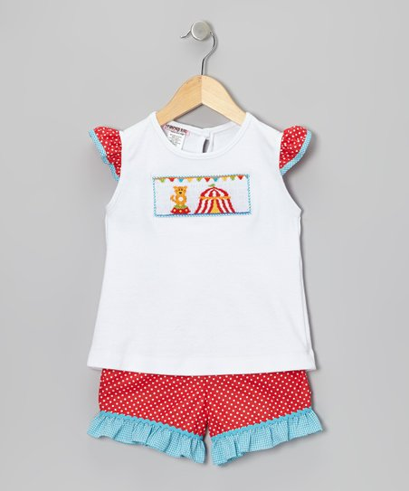 White Circus Angel-Sleeve Top & Red Shorts - Infant & Toddler