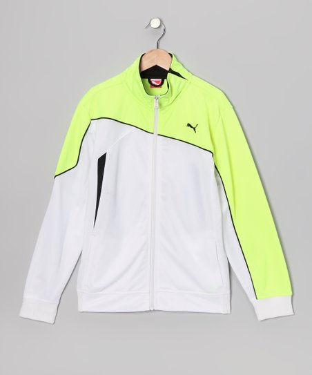 White Slanted Zip-Up Jacket - Boys
