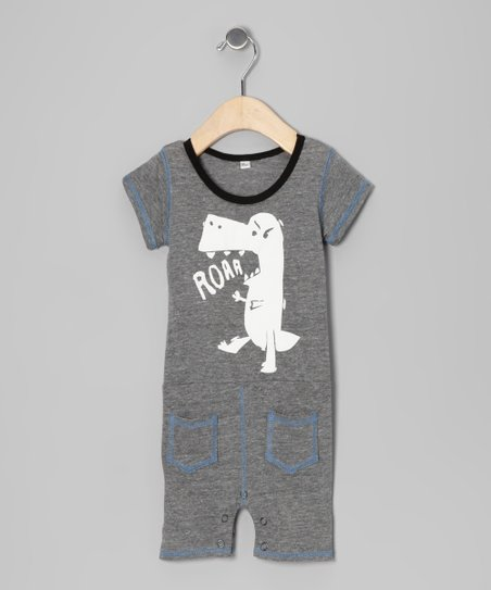 Gray Dino &#039;Roar&#039; Romper - Infant &amp; Toddler