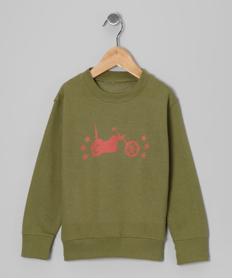 Army Green Vintage Motorcycle Sweatshirt - Kids