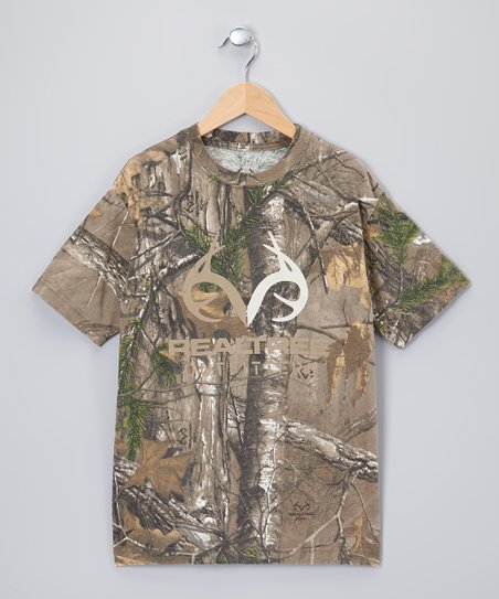 Green & Brown Camouflage Xtra Tee - Boys