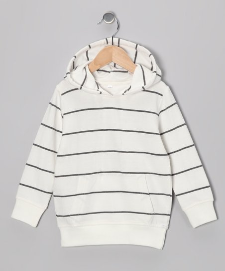 White & Black Stripe Hoodie - Infant