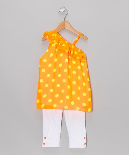 Neon Orange Polka Dot Tunic & Leggings - Toddler & Girls