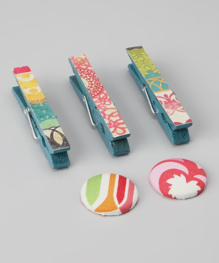 Boho Chic Clothespin & Button Magnet Set