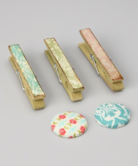 Shabby Chic Clothespin &amp; Button Magnet Set