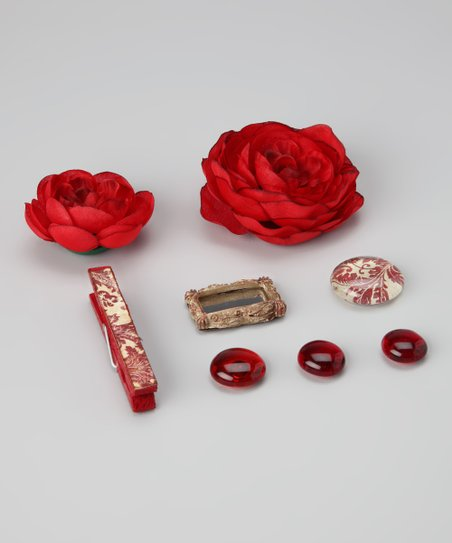 Red Shabby Chic Magnet Set
