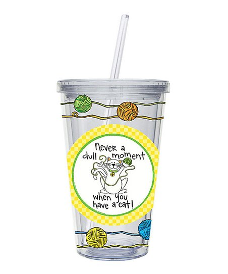 Yellow 17-Oz. Life with a Cat Insulated Tumbler
