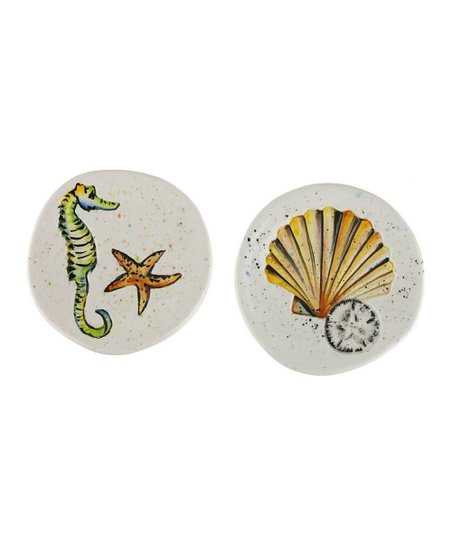 Coastal Brush Ceramic Appetizer Plate Set
