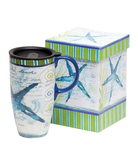Blue Starfish Latte Travel Mug