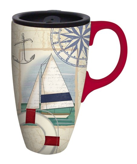 Sailboat Collage Ceramic Travel Mug