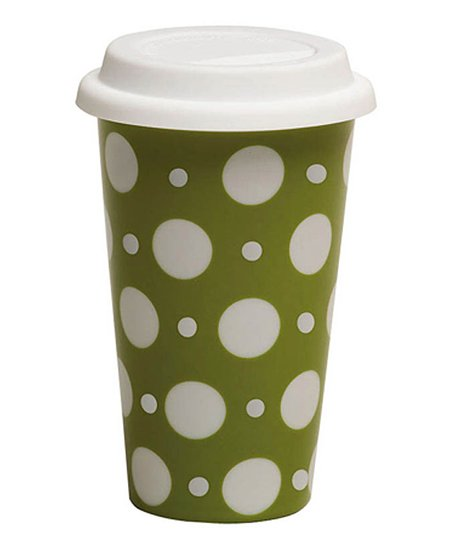 Green Polka Dot 10-Oz. Travel Mug