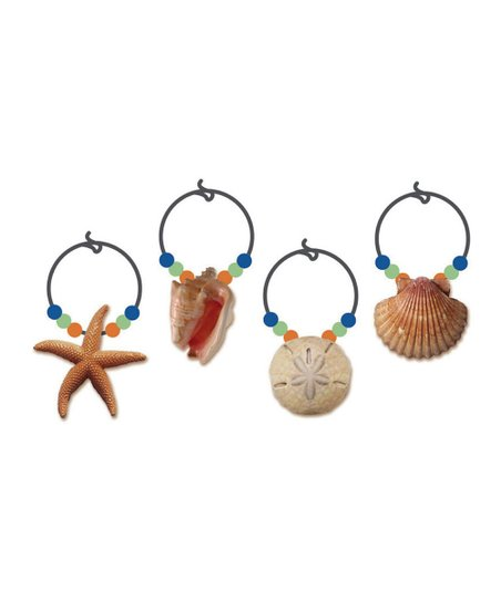 Coastal Brush Resin Wine Charm Set
