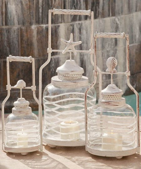 Frosted Globe Shell Lantern Set