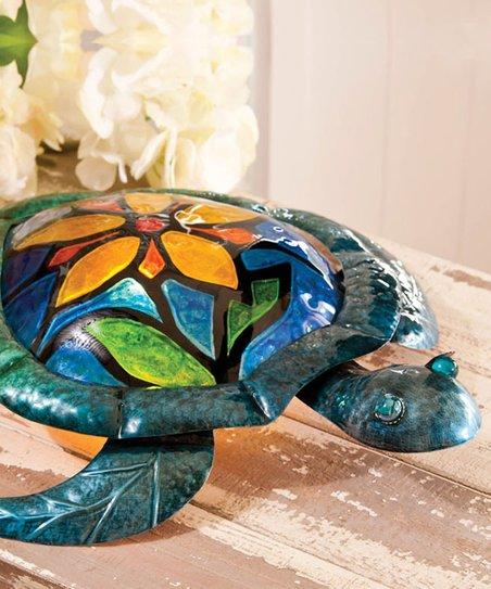 Hand Painted Glass Flower Turtle Lamp