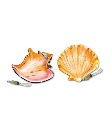Coastal Brush Ceramic Shell Bowl & Spreader Set