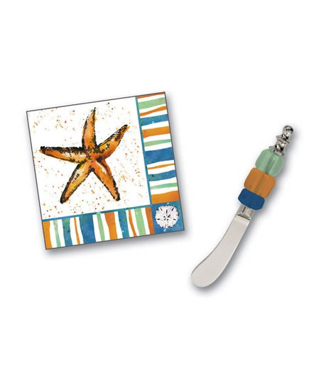Coastal Brush Cocktail Napkin &amp; Spreader Set