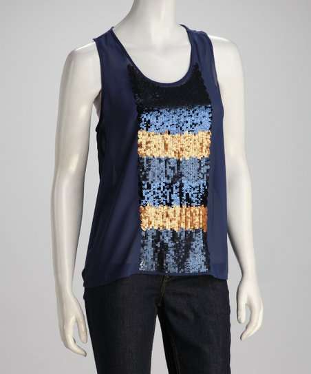 Cobalt &amp; Gold Sequin Panel Tank