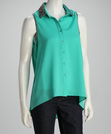 Jade Sparkle Button-Up Top