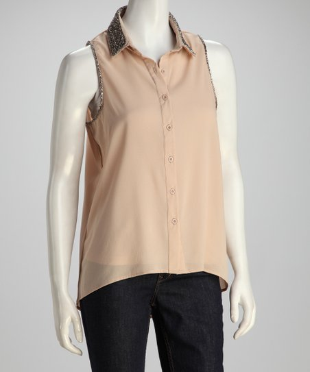 Taupe Sparkle Button-Up Top