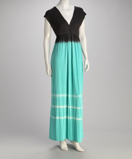 Mint & Black Surplice Maxi Dress