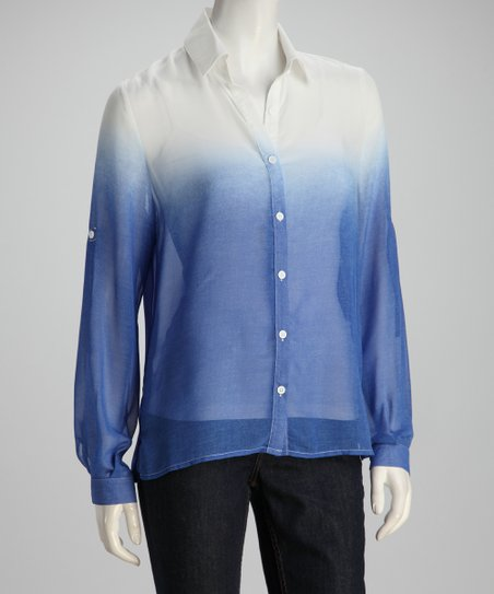 Blue & White Dip-Dye Button-Up Top