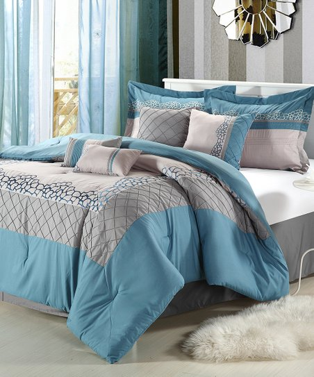 Blue Mustang Embroidered Comforter Set