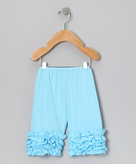 Light Blue Ruffle Shorts - Toddler