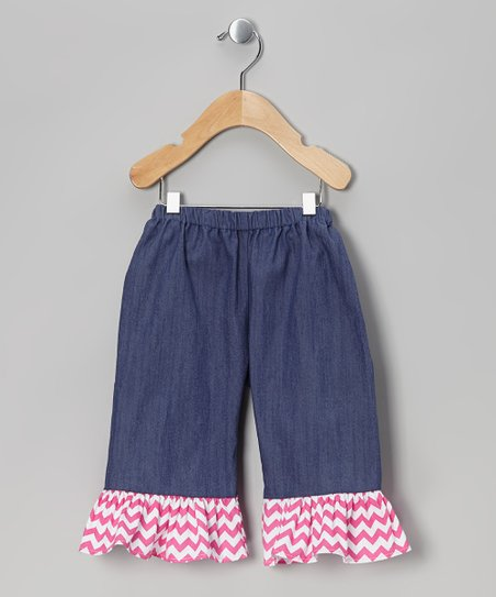 Blue Denim-Look Zigzag Ruffle Shorts – Toddler & Girls