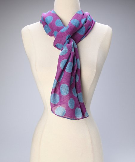 Purple & Blue Polka Dot Scarf