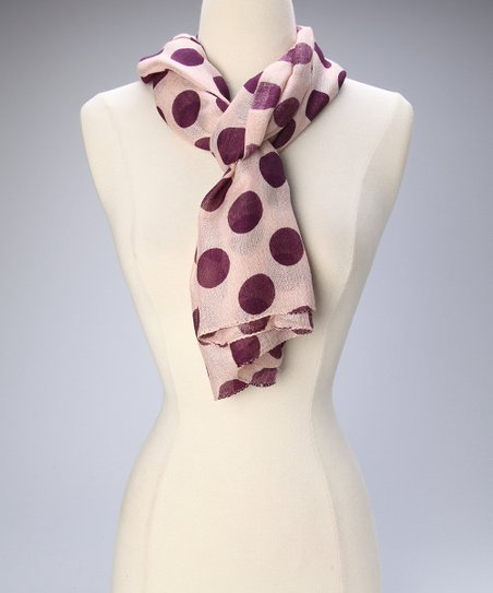 Cream &amp; Eggplant Polka Dot Scarf